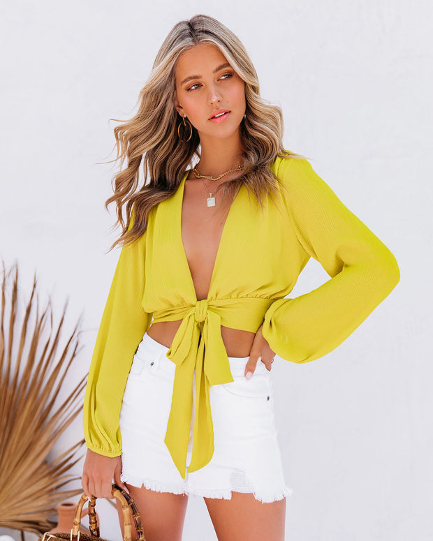 Vittoria Tie Front Crop Blouse - Chartreuse view 1