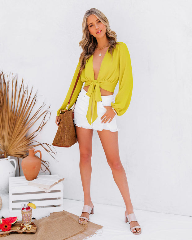 Vittoria Tie Front Crop Blouse - Chartreuse view 9
