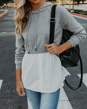 Wilbur Contrast Poplin Hooded Knit Top