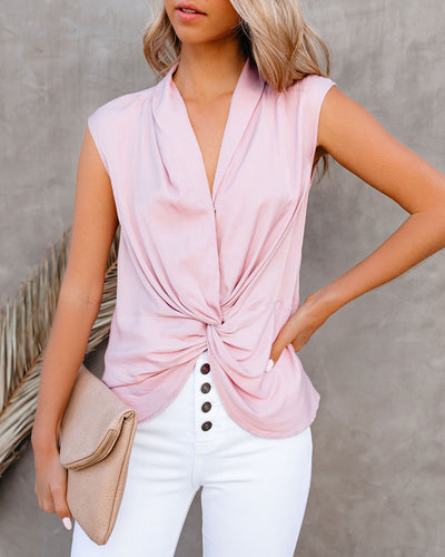 Waka Sleeveless Twist Blouse - Blush