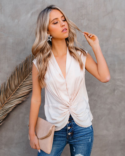 Waka Sleeveless Twist Blouse - Champagne