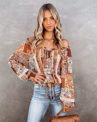 Wally Button Down Crochet Patchwork Top