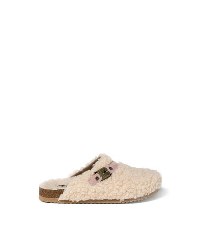 Warren Sherpa Buckle Clogs - Beige