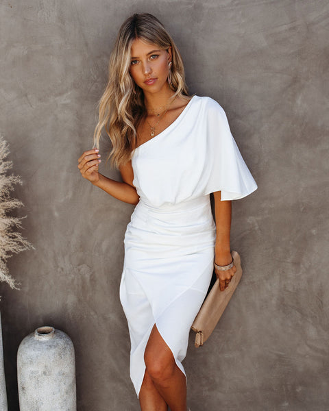 What To Wear One Shoulder Satin Drape Dress - Off White