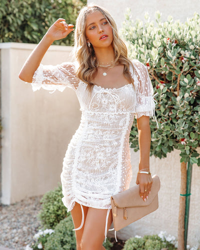 Whimsical Ruched Lace Mini Dress