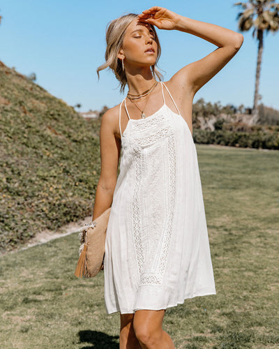 Whisked Away Crochet Lace Halter Dress