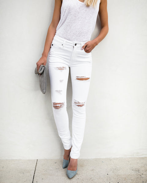 Slater Distressed High Rise Skinny - White - FINAL SALE