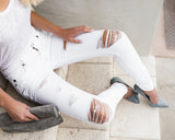 Slater Distressed High Rise Skinny - White