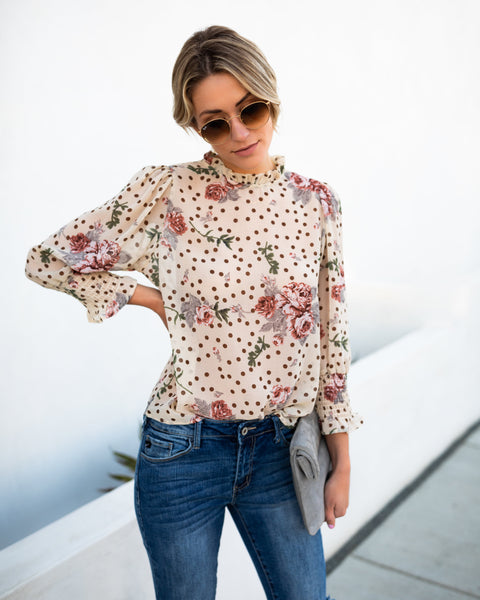 Wicked Garden Polka Dot Blouse