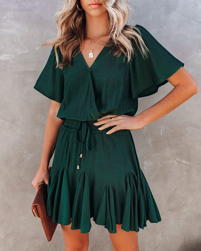 This Moment Ruffle Romper - Hunter Green