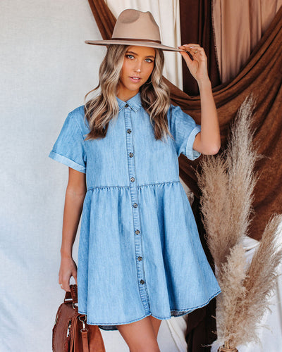 You And Paradise Pocketed Button Down Denim Dress