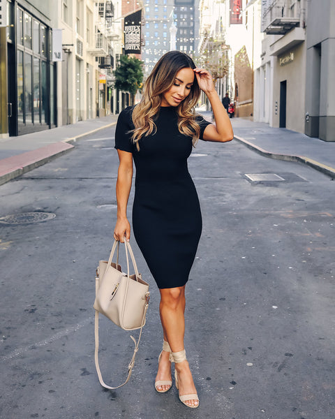 Center Stage Bodycon Dress - Black