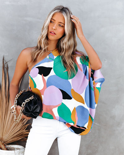 Yoselin Abstract Print One Shoulder Blouse