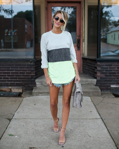 PREORDER - Zack Color Block Cotton Knit - Neon Lime