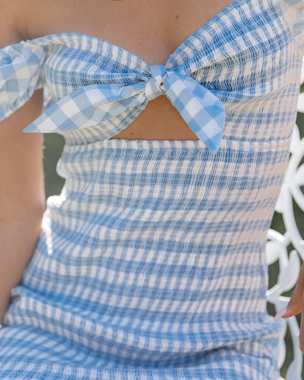 Zayne Cotton Smocked Gingham Tie Front Dress view 4