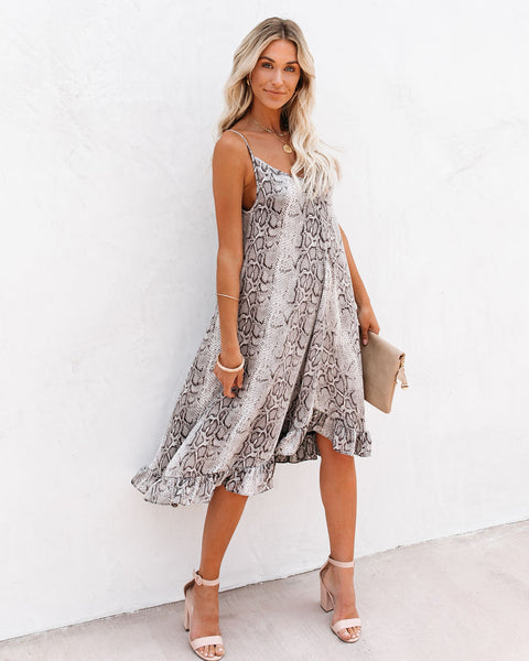 Abbie Snake Print Ruffle Midi Dress