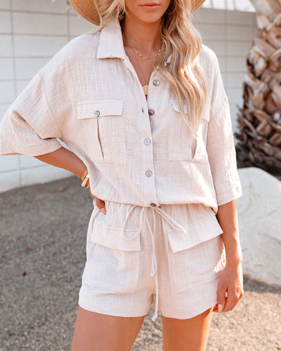 Abel Cotton Textured Button Down Top - Pebble