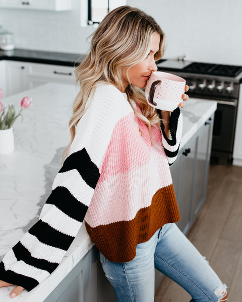 Abigail Contrast Striped Sweater - Ivory/Pink Combo