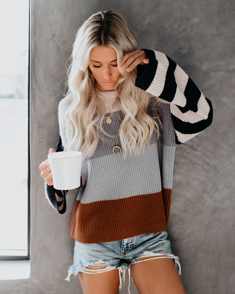 Abigail Contrast Striped Sweater - Silver/Blue Combo