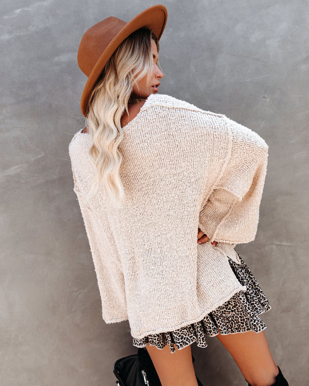 Abrielle Relaxed Knit Sweater - Cream