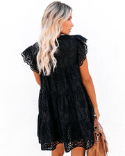 Acadia Cotton Eyelet Pocketed Babydoll Tunic - Black - FINAL SALE