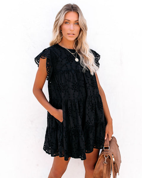 Acadia Cotton Eyelet Pocketed Babydoll Tunic - Black