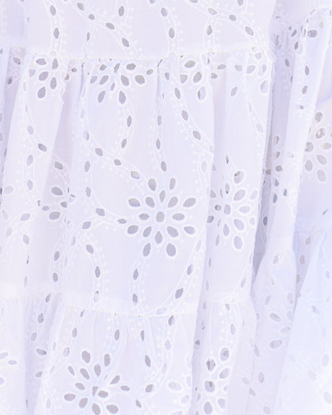 Acadia Cotton Eyelet Pocketed Babydoll Tunic - White