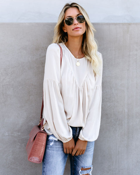 Accomplish Anything Billowed Sleeve Blouse - Cream