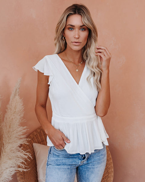 Acts Of Kindness Peplum Wrap Top - Off White