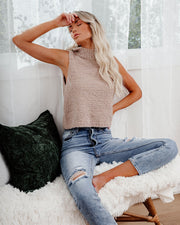Adam Fuzzy Sleeveless Knit Top - Taupe