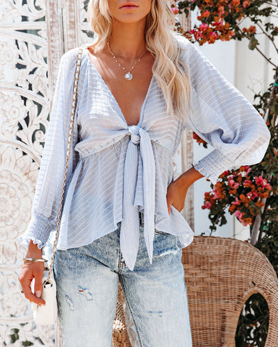 Addicted To Love Textured Tie Front Peplum Top - Sky Blue
