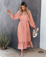 Adele Satin Ruffle Midi Dress - Antique Rose