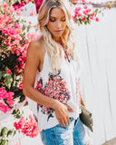 Adjustable Heavenly Hydrangeas Halter Tank - Ivory - FINAL SALE
