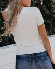 Admiration One Shoulder Ribbed Knit Top - Ivory - FINAL SALE