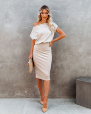 Adora Boat Neck Knit Midi Dress - Beige