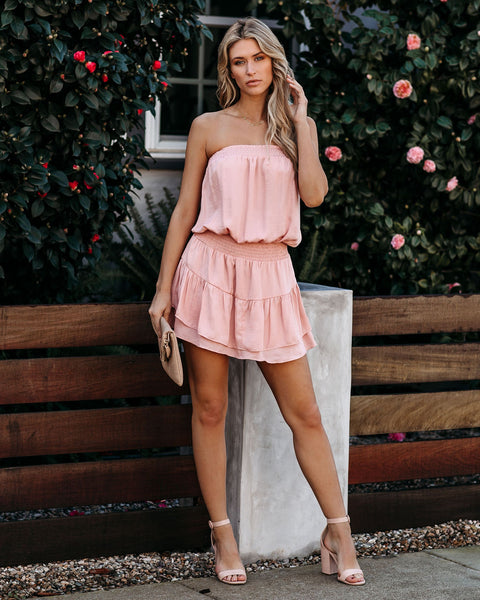 Adorn Strapless Smocked Tiered Dress