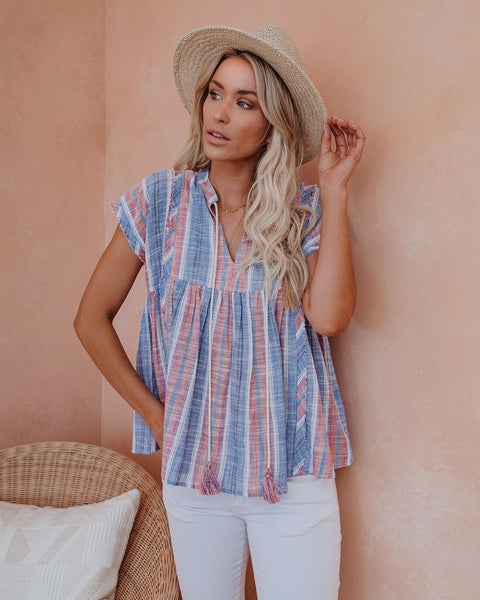 A Drop In The Ocean Cotton Frayed Babydoll Top