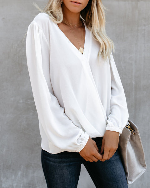 Aesthetic Surplice Blouse - Marshmallow