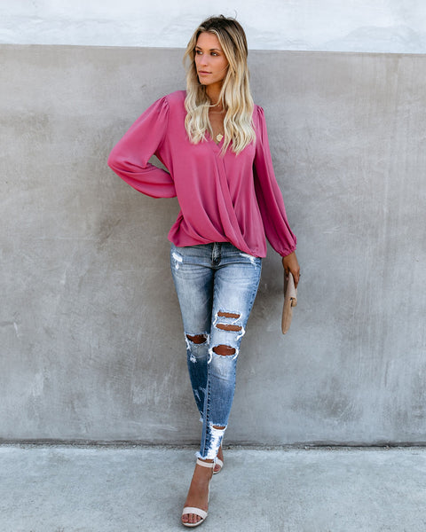 Aesthetic Surplice Blouse - Rose Pink