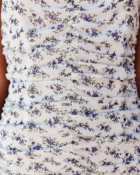 Affectionate Floral Ruched Mini Dress