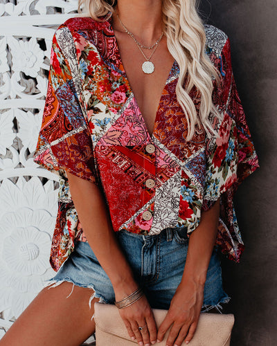Against All Odds Patchwork Button Down Kimono Top - FINAL SALE