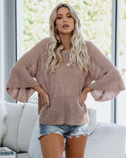 Against The Tide Bell Sleeve Sweater - Taupe