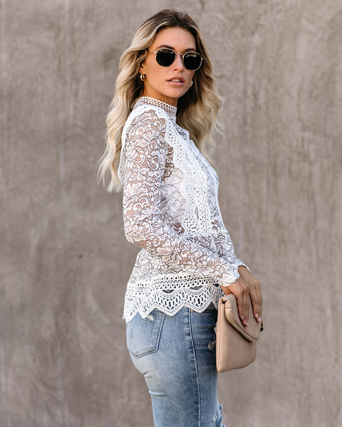 Agency Crochet Lace Peplum Top - FINAL SALE