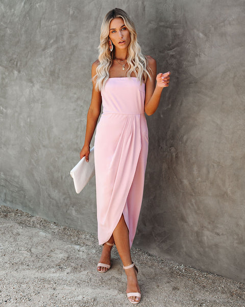 Aglow Strapless Draped Midi Dress - Blush