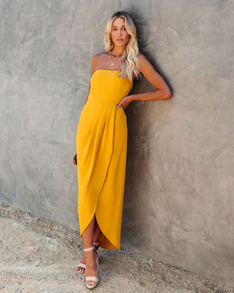 Aglow Strapless Draped Midi Dress - Yellow