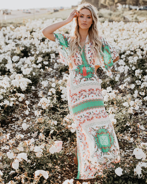 Aimee Printed Kimono Maxi Dress - FINAL SALE