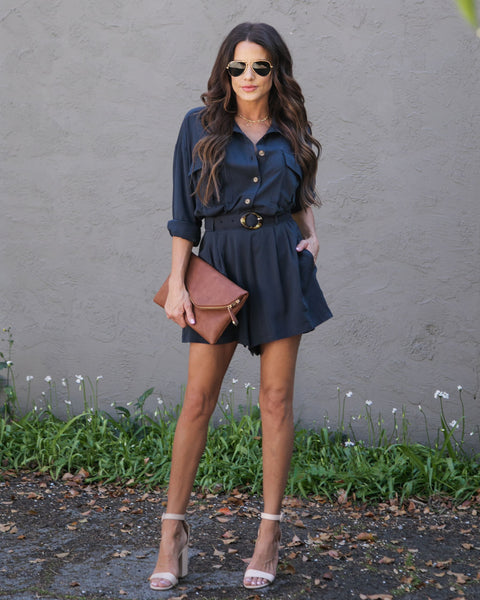 Aim High Pocketed Button Down Belted Romper