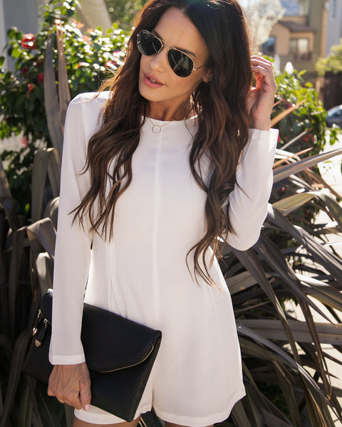 A La Mode Long Sleeve Romper - Ivory