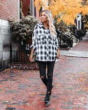 Alba Cotton Blend Plaid Button Down Top - Black view 9
