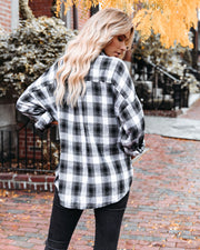 Alba Cotton Blend Plaid Button Down Top - Black view 2
